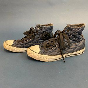 Converse Navy Quilted High Tops/ Fur Lined